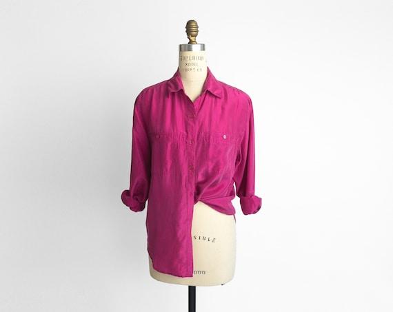 90s silk boyfriend shirt | hot pink silk blouse
