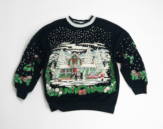 vintage black ugly holiday sweater | Christmas tree country store