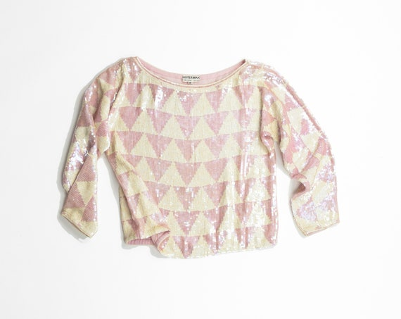 ballet slipper pink silk sequined top | triangle pattern blouse