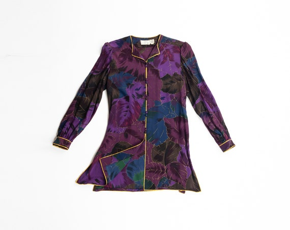 purple silk tunic top | gold leaf print tunic