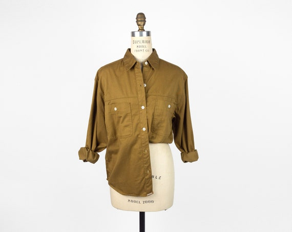 twill utility shirt in dark ocher | 90s work shirt