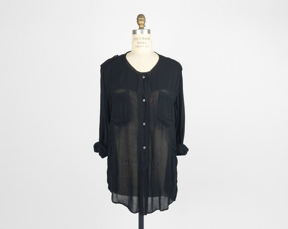 ETOILE ISABEL MARANT Black Shoulder Epaulet Silk Shirt