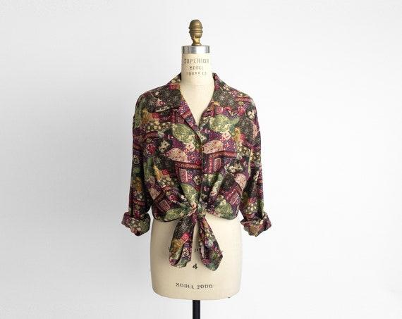 print silk blouse | vintage 90s silk shirt