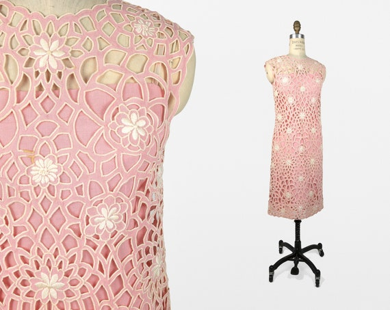 floral cutwork dress in ballet slipper pink | vintage cut out lace dress