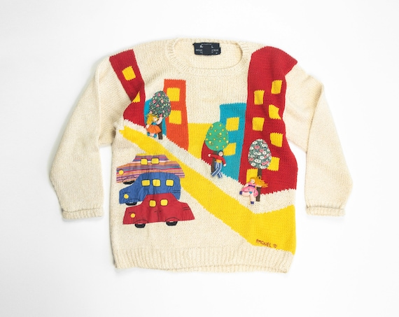 90s novelty sweater | patchwork city streets