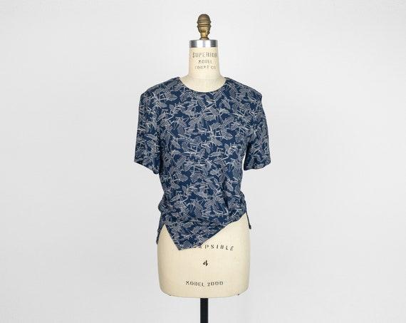 Adirondack chair printed top   blue linen blouse