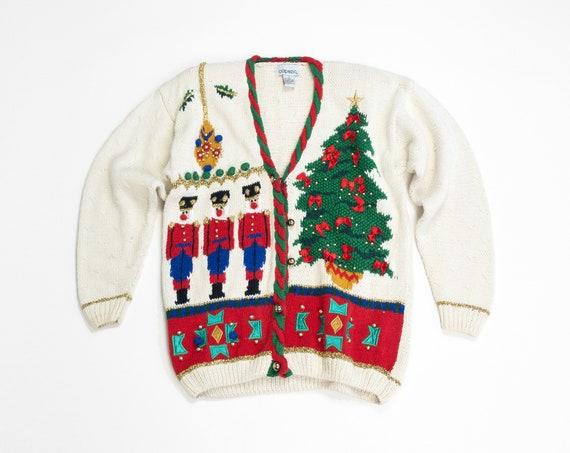 90s tacky Christmas sweater | Nutrcrackers & Christmas trees