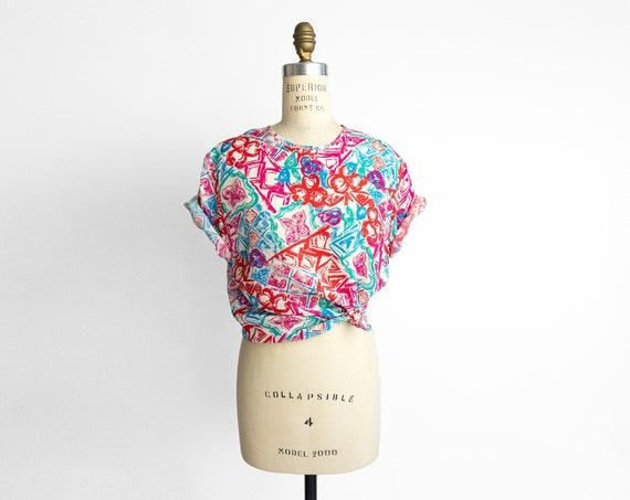 abstract floral silk blouse | colorful silk tee