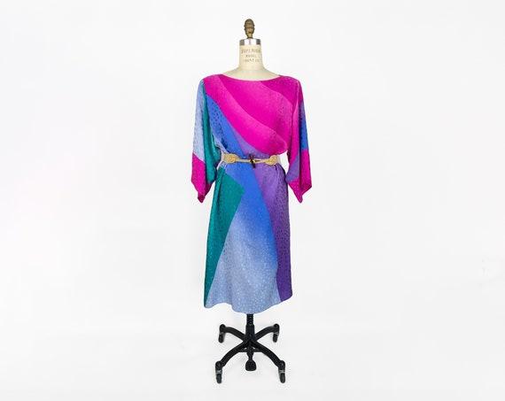 kimono sleeve silk dress | jewel tone dress