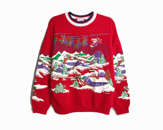 90s Ugly Christmas Sweater / Red Holiday Sweatshirt / Santa & Reindeer Chairlift / Vintage Tacky Sweater - Women's Medium