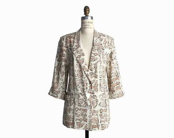 Vintage 80s Totally Awesome Blazer Jacket in Encino Man Print / Flax Blend Jacket - women's small