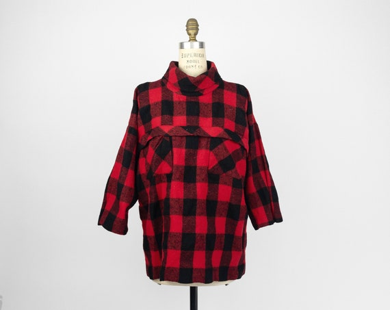 red buffalo plaid wool top | vintage Joseph Magnin