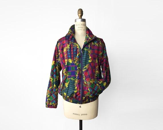 patchwork plaid silk track jacket | 90s windbreaker