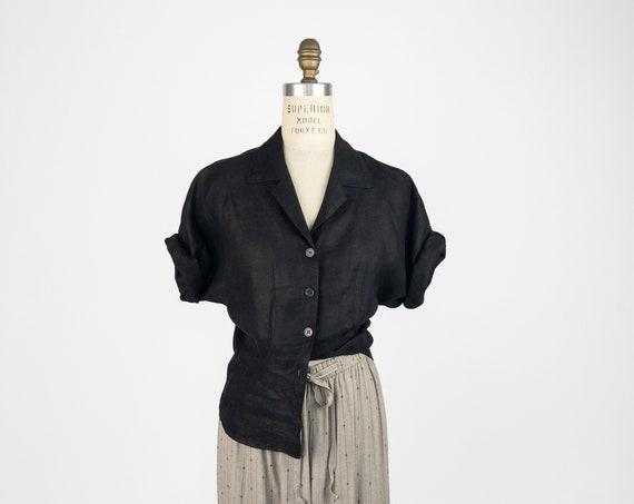 black linen blouse | button-front top