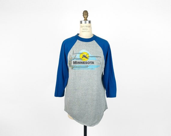 vintage Minnesota tourist tee | raglan baseball shirt | fishing shirt