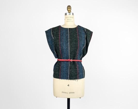 textured stripe button-shoulder top | vintage 60s top