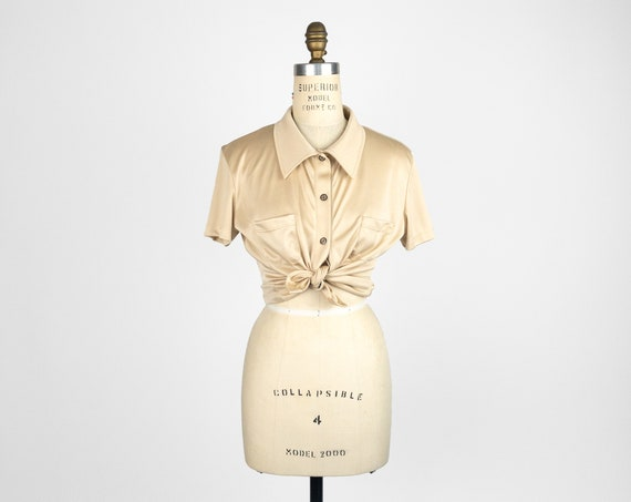 champagne gold button-front top | short sleeve top