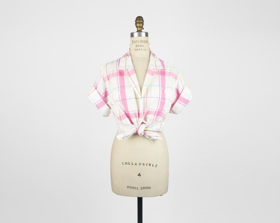 pink plaid summer camp shirt