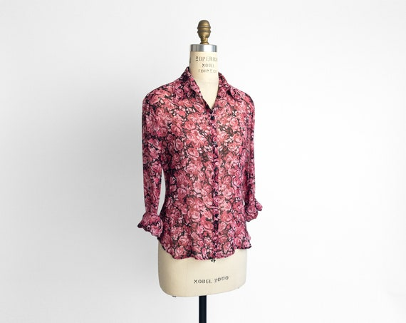 pink rose silk blouse | 90s sheer floral shirt