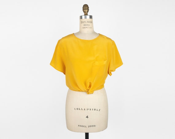 goldenrod yellow silk blouse | solid silk tee