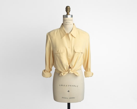 muted yellow silk shirt