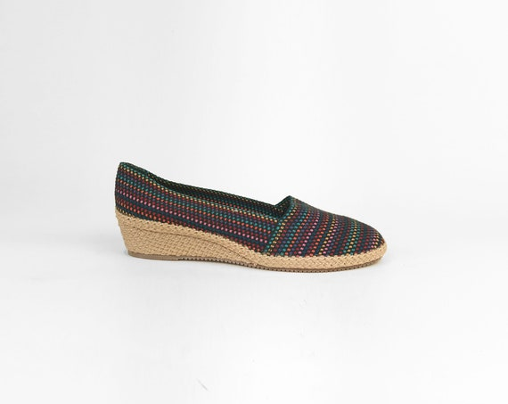 black rainbow espadrille wedges | vintage shoes