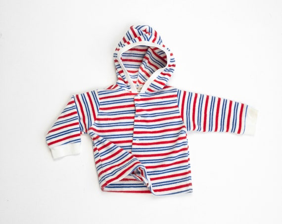 1980s striped hoodie | velour sweatshirt | toddler 18-27 lbs