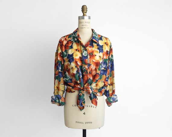 orange blossom blouse | floral silk shirt