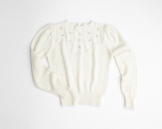fancy pearl sweater | 80s ivory lace sweater