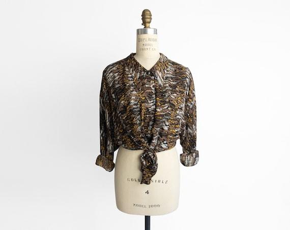 90s tiger print silk blouse | avant garde