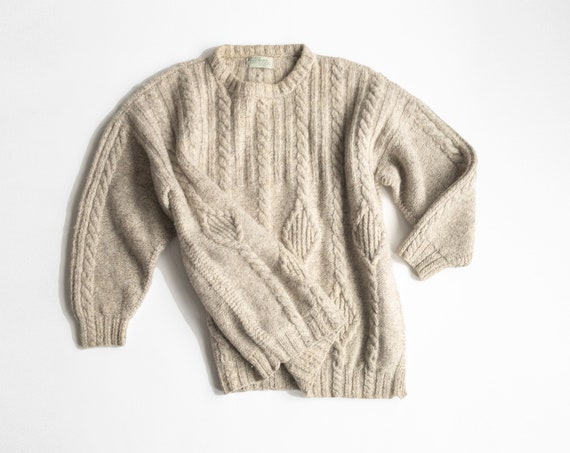 men's Irish wool fisherman sweater | natural wool sweater