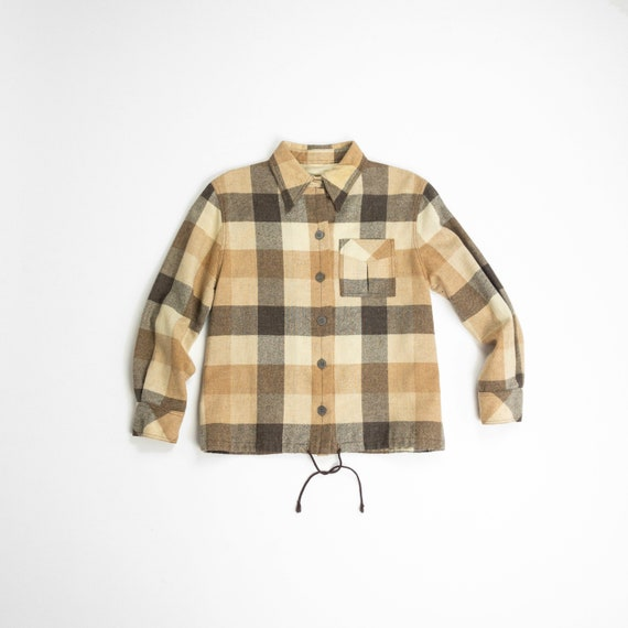 60s plaid wool shirt jacket | neutral plaid