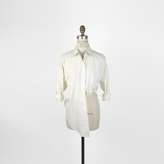 vintage Burberry shirt | ivory textured-stripe shirt
