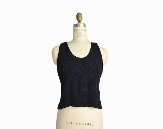 Vintage 90s Smocked Black Crop Top / Stretch Tank Top / Crinkle Top - women's small/medium