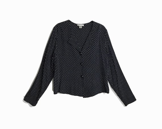 Vintage 90s Black & White Polka Dot Blouse / Long Sleeve Shirt - women's small/medium