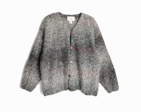 Vintage 90s Ombre Gray Sweater Coat / 90s Mohair Cardigan Sweater with Hint of Purple - women's large