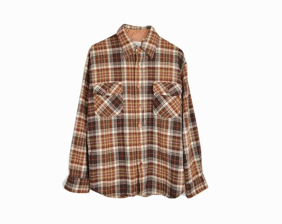 Vintage 70s Brown Plaid Wool Shirt / Boyfriend Shirt / Lumberjack Plaid / - men's medium
