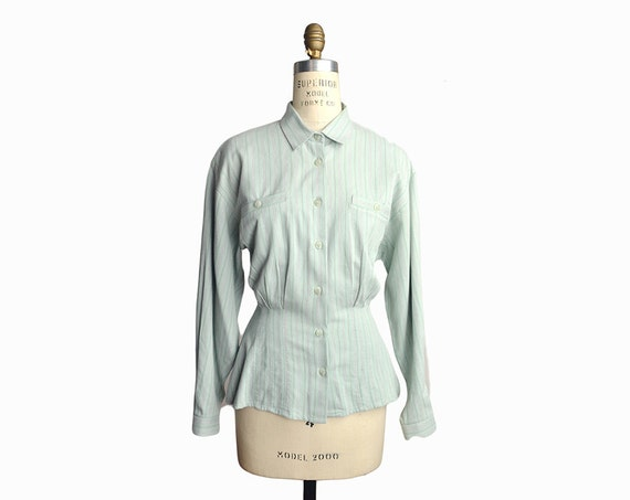 Vintage 90s Striped Peplum Shirt in Pale Sage / Long Sleeve Shirt - women's small