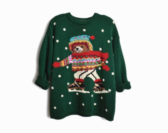vintage 90s ice skating teddy bear sweater | green ugly Christmas sweater