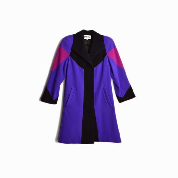 Vintage 80s Colorblock Swing Coat in Purple & Black / Colorful 1980s Purple Wool Coat / Flared Coat - women's small