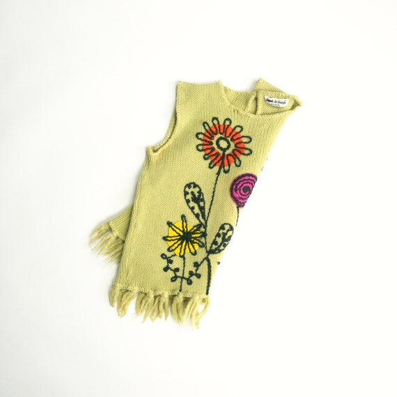 70s yellow floral sweater | fringed wool sweater | sleeveless sweater | embroidered