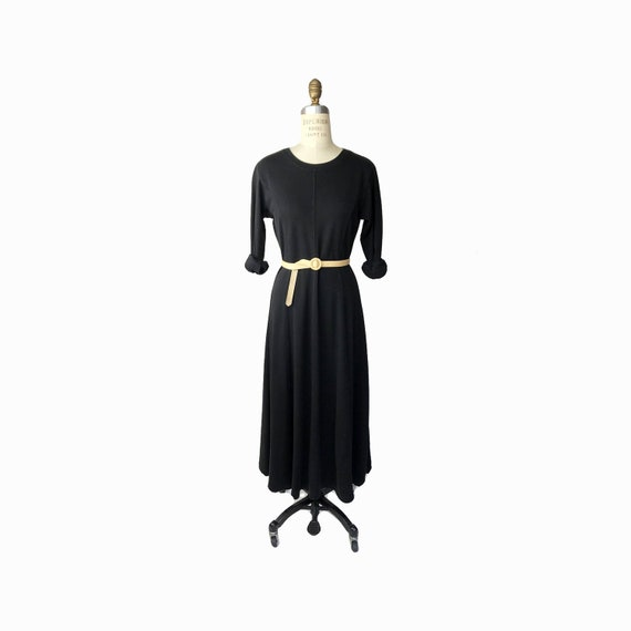 Vintage 90s Black Maxi T-Shirt Dress / Long Sleeve Dress / Ankle Length Cotton Dress / Casual Dress - small