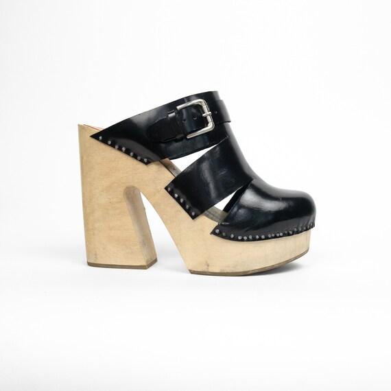 RACHEL COMEY Black Patent Leather Fiero Clogs | Wooden Platform Clog