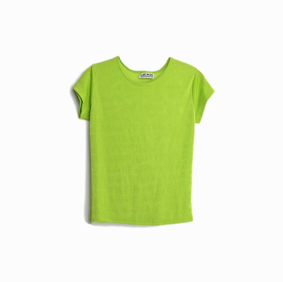 Vintage 90s Spandex Tee in Kermit Green / Short Sleeve Top / Kermit the Frog - women's medium