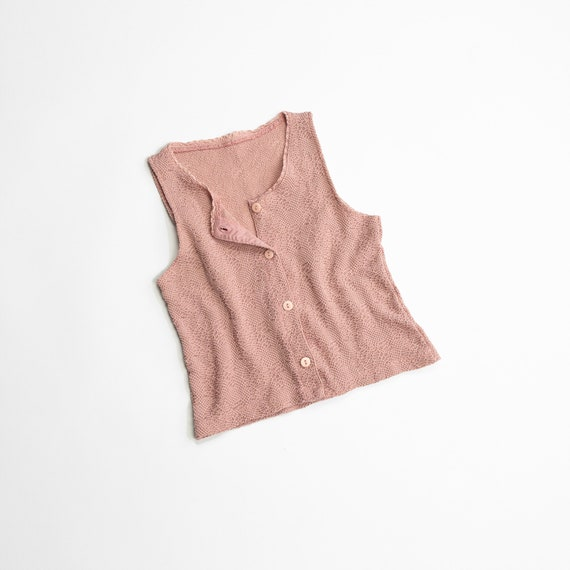 textured blush knit top | button front top | sleeveless
