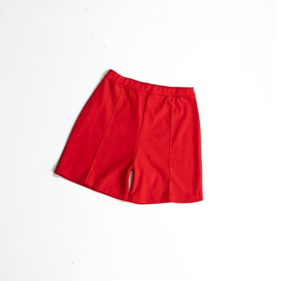 tomato red gym shorts | 70s stretchy shorts