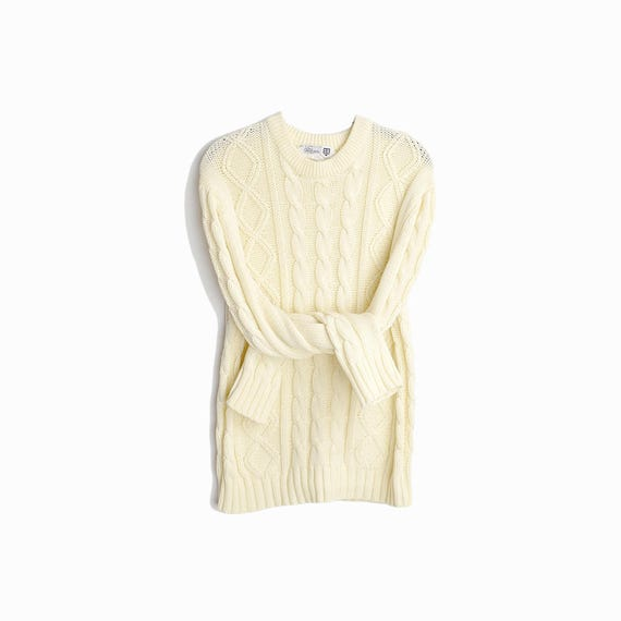 Vintage Cable Knit Fisherman Sweater in Ivory Cream / Crewneck Sweater - men's medium