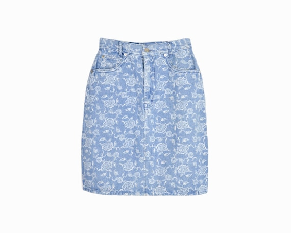 Vintage 90s Floral Denim Pencil Skirt / Blue Jean Skirt - women's small