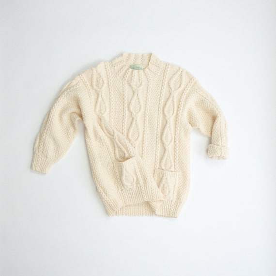 Irish wool sweater | cream wool fisherman sweater | teardrop cable knit tunic - women's medium