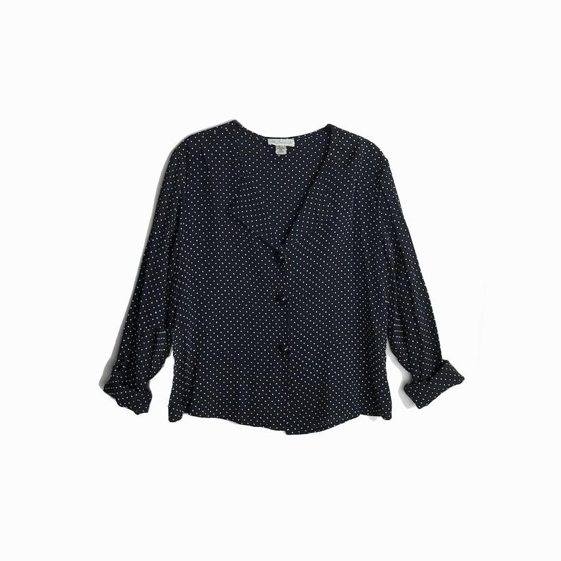 cc2f8bdd2d558c Vintage 90s Black   White Polka Dot Blouse   Long Sleeve Shirt
